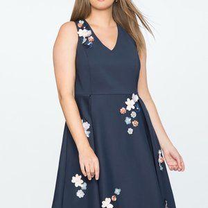 Draper JamesxELOQUII Floral Embellished 3D Dress